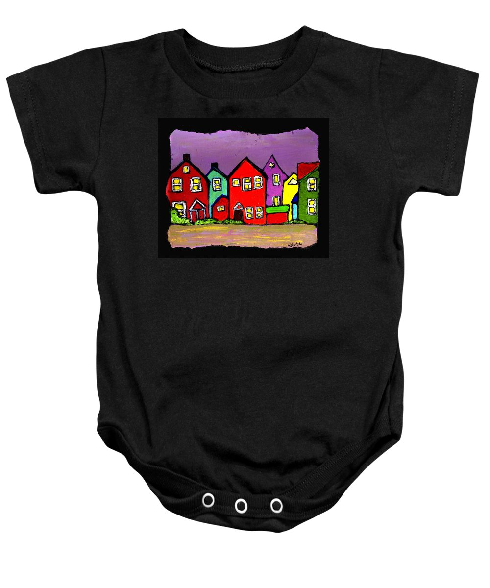 Houses Baby Onesie featuring the painting Still Standing by Wayne Potrafka