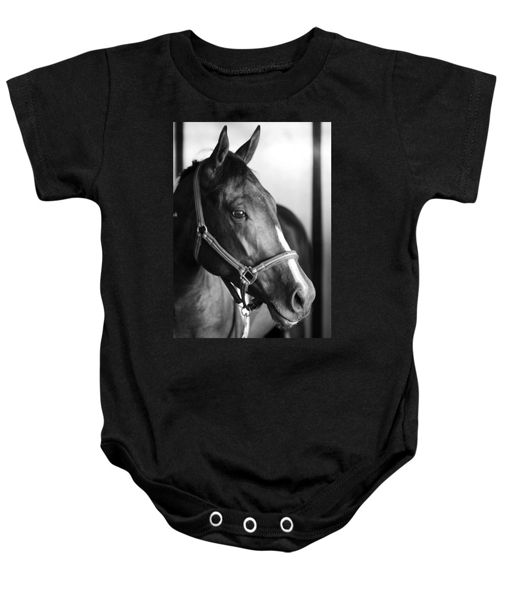 Horse Baby Onesie featuring the photograph Horse And Stillness by Marilyn Hunt