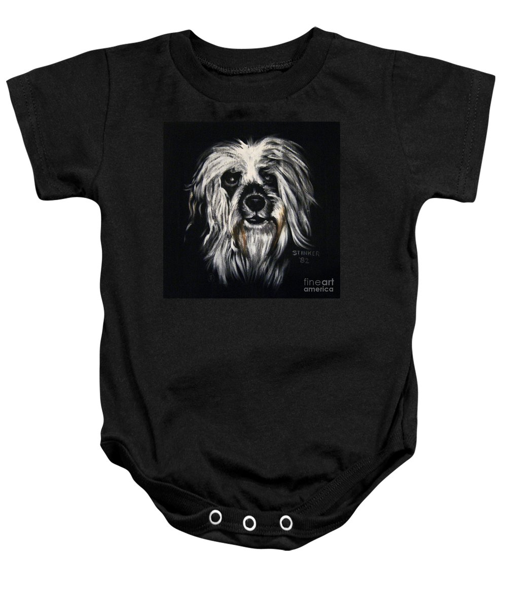 Dog Baby Onesie featuring the painting Stinker by Sherry Oliver