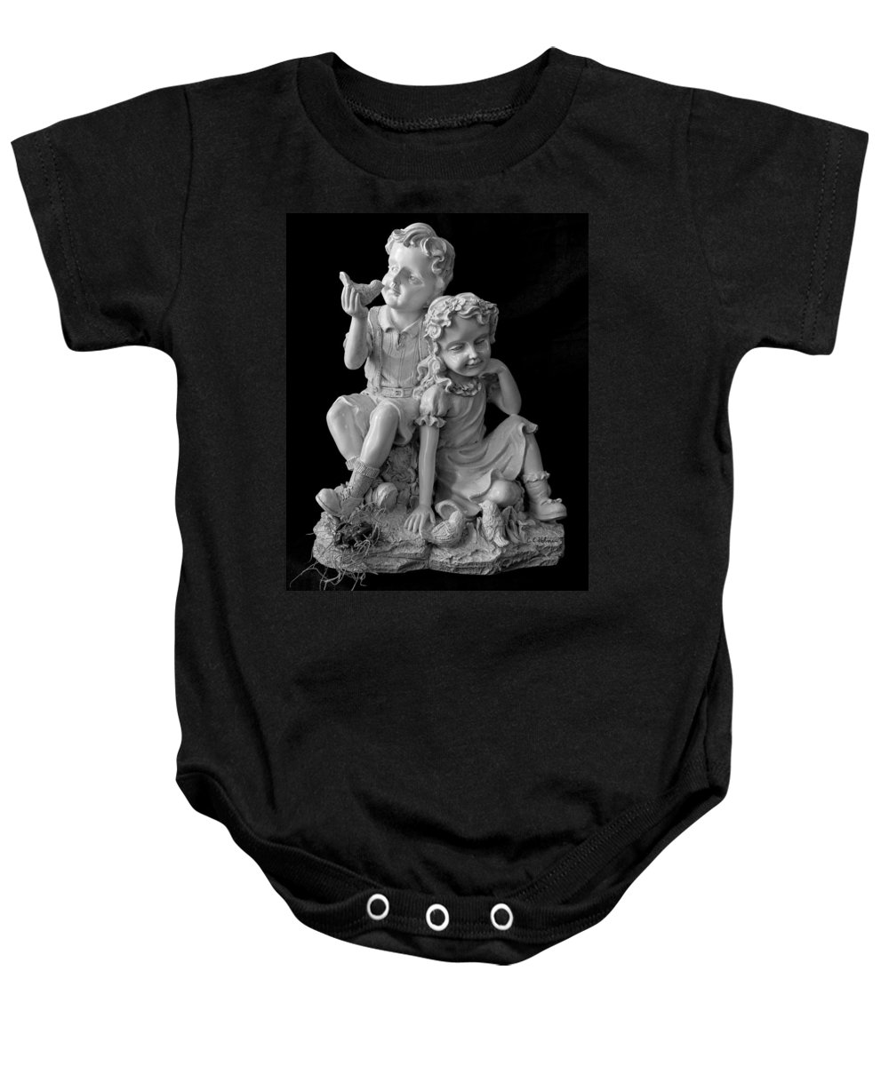 Statue Baby Onesie featuring the photograph Stone Siblings by Christopher Holmes