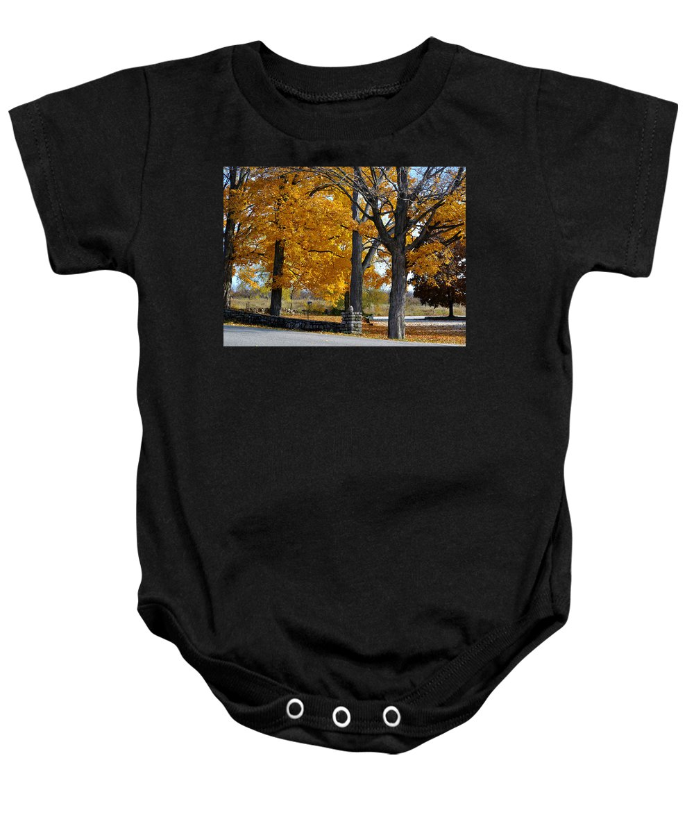 Stone Wall Baby Onesie featuring the photograph Stone Wall by Tim Nyberg