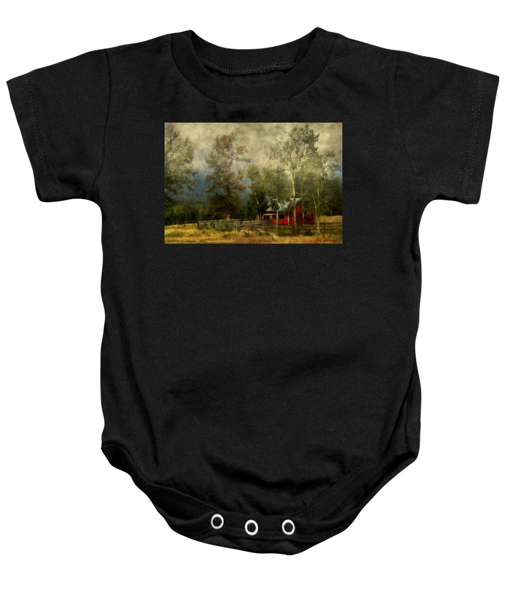 Landscape Baby Onesie featuring the painting Storm Approaching White Birch Cottage by RC DeWinter