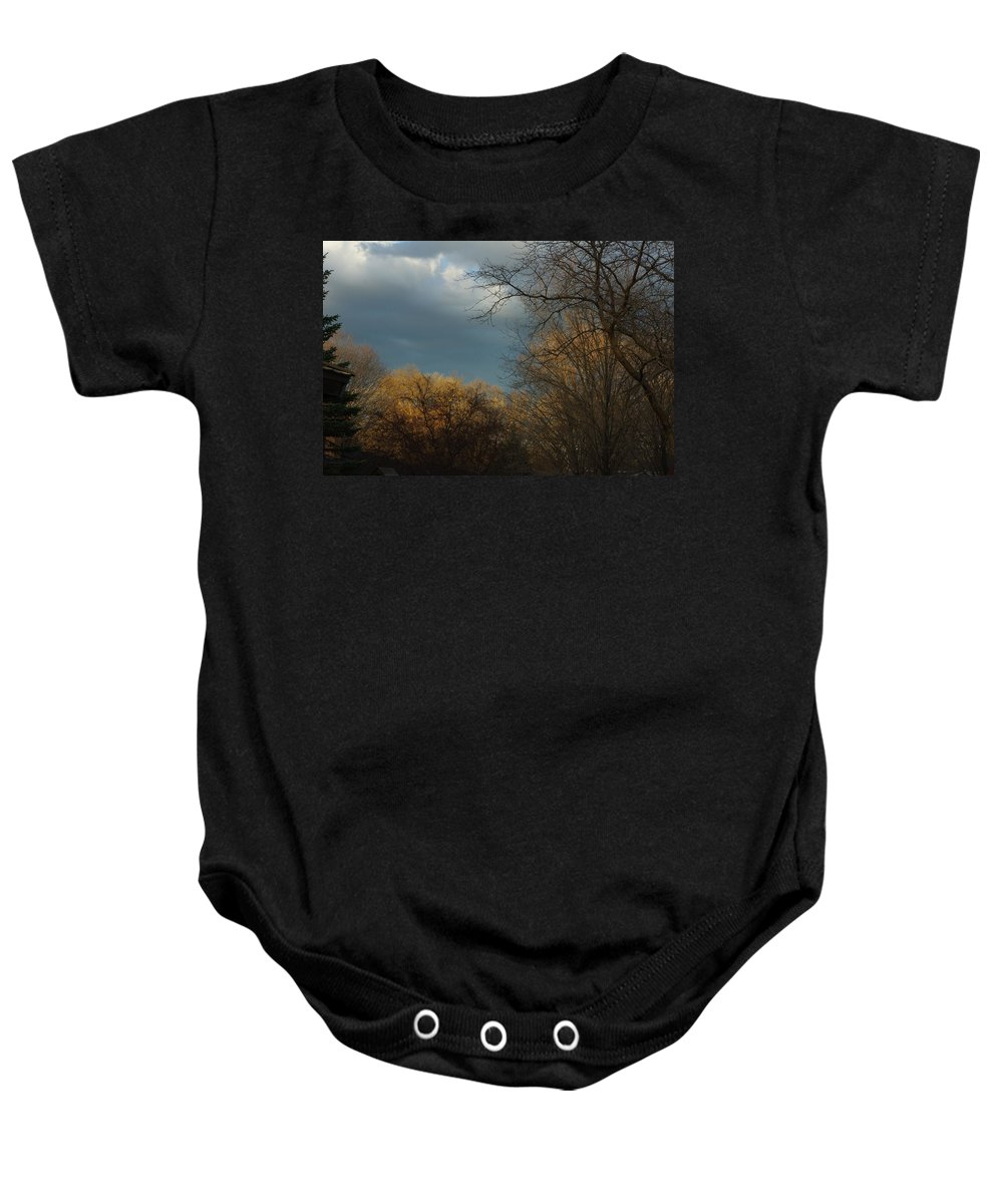 Storm Baby Onesie featuring the photograph Storm Clouds by Alice Markham
