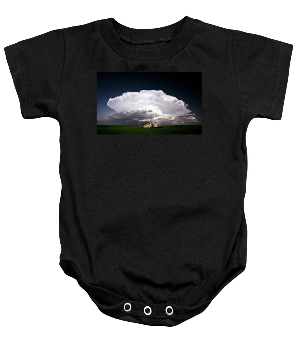 Cumulonimbus Baby Onesie featuring the digital art Storm Clouds Over Saskatchewan Granaries by Mark Duffy