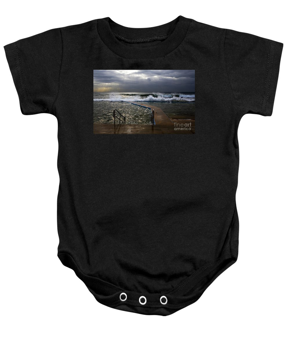 Storm Clouds Collaroy Beach Australia Baby Onesie featuring the photograph Stormy Morning At Collaroy by Sheila Smart Fine Art Photography