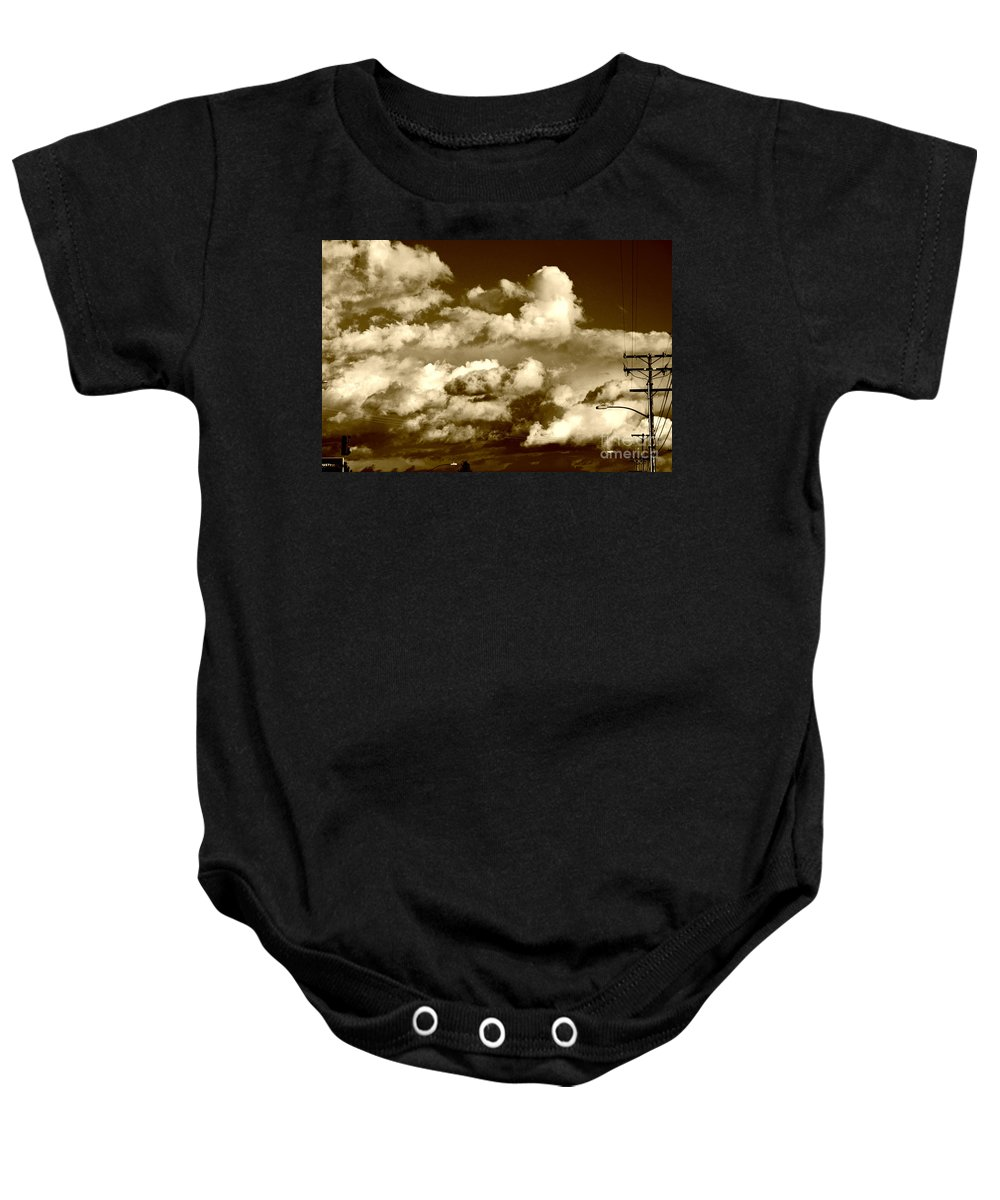 Clay Baby Onesie featuring the photograph Stormy Skies In Socal by Clayton Bruster