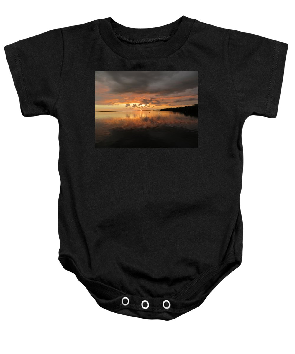 Baby Onesie featuring the photograph Stormy Sunset by Martha Huard