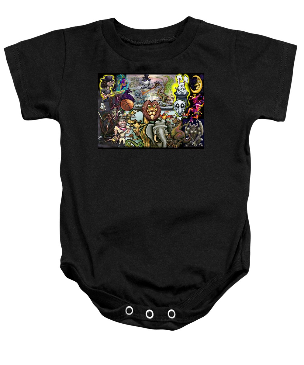 Story Baby Onesie featuring the painting Storytime by Kevin Middleton