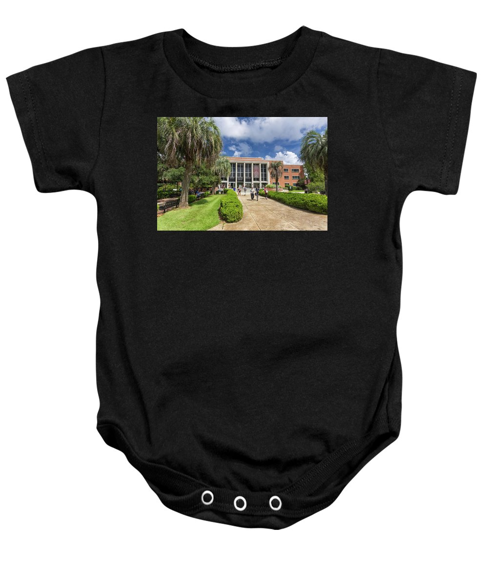 Acedemia Baby Onesie featuring the photograph Stozier Library At Florida State University by Bryan Pollard
