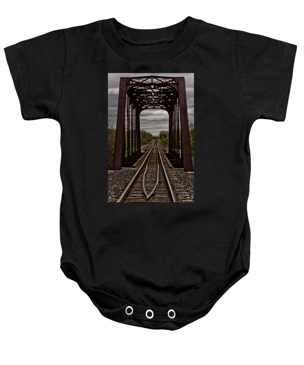 Tracks Baby Onesie featuring the photograph Straight And Narrow by Jill Smith