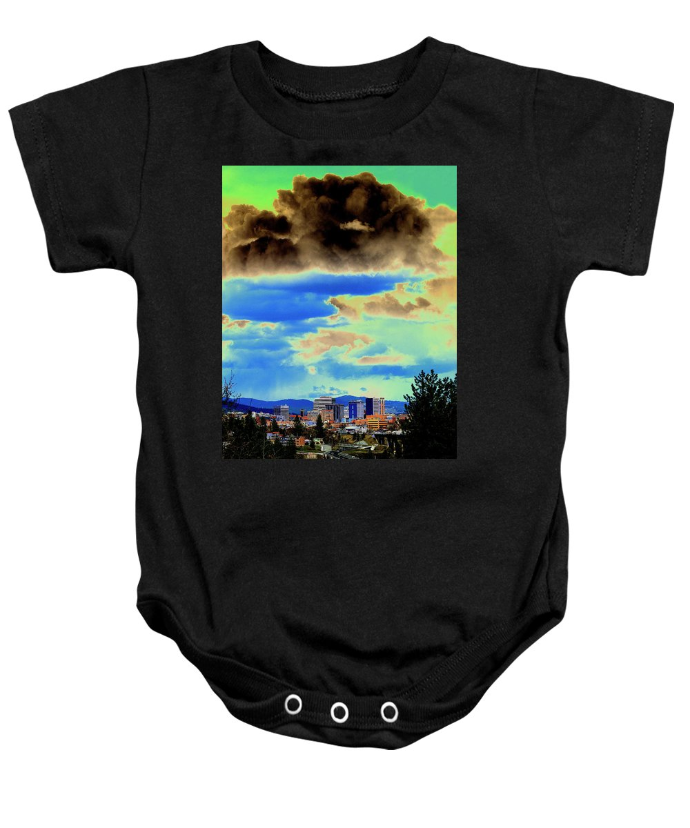 Photo Art Baby Onesie featuring the photograph Strange Spokane Storm by Ben Upham III