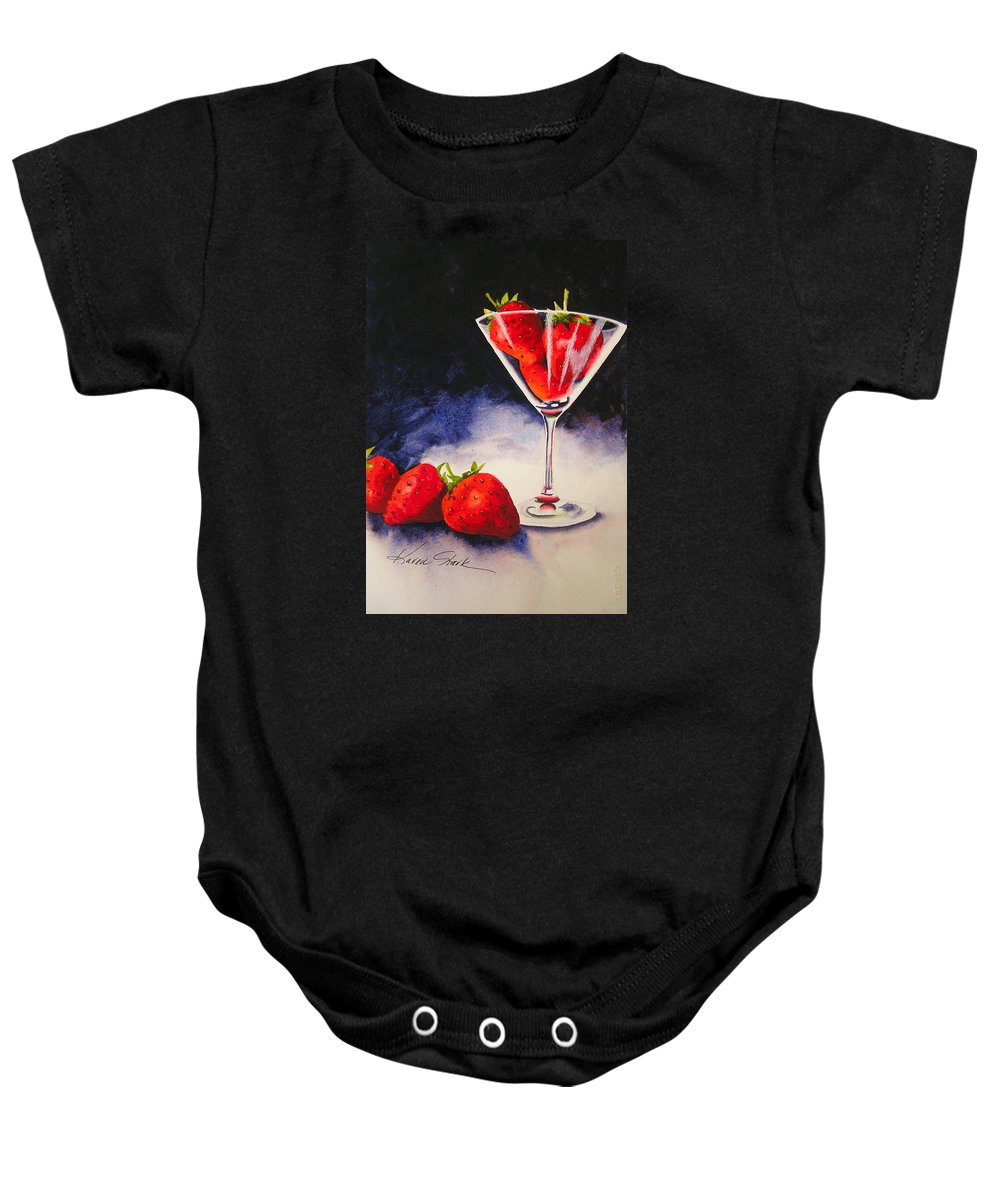 Strawberry Baby Onesie featuring the painting Strawberrytini by Karen Stark