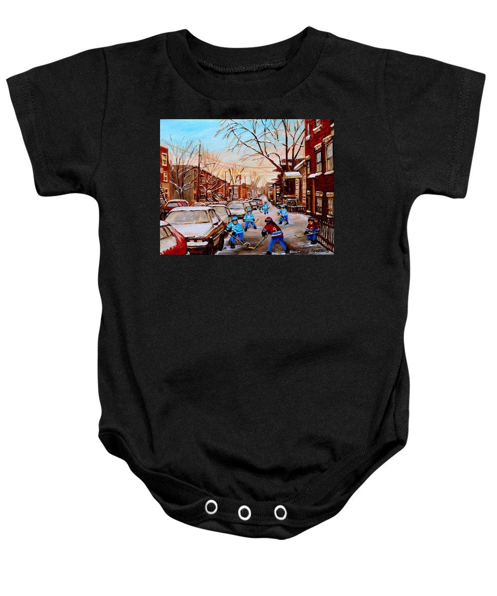 Streethockey Baby Onesie featuring the painting Street Hockey On Jeanne Mance by Carole Spandau