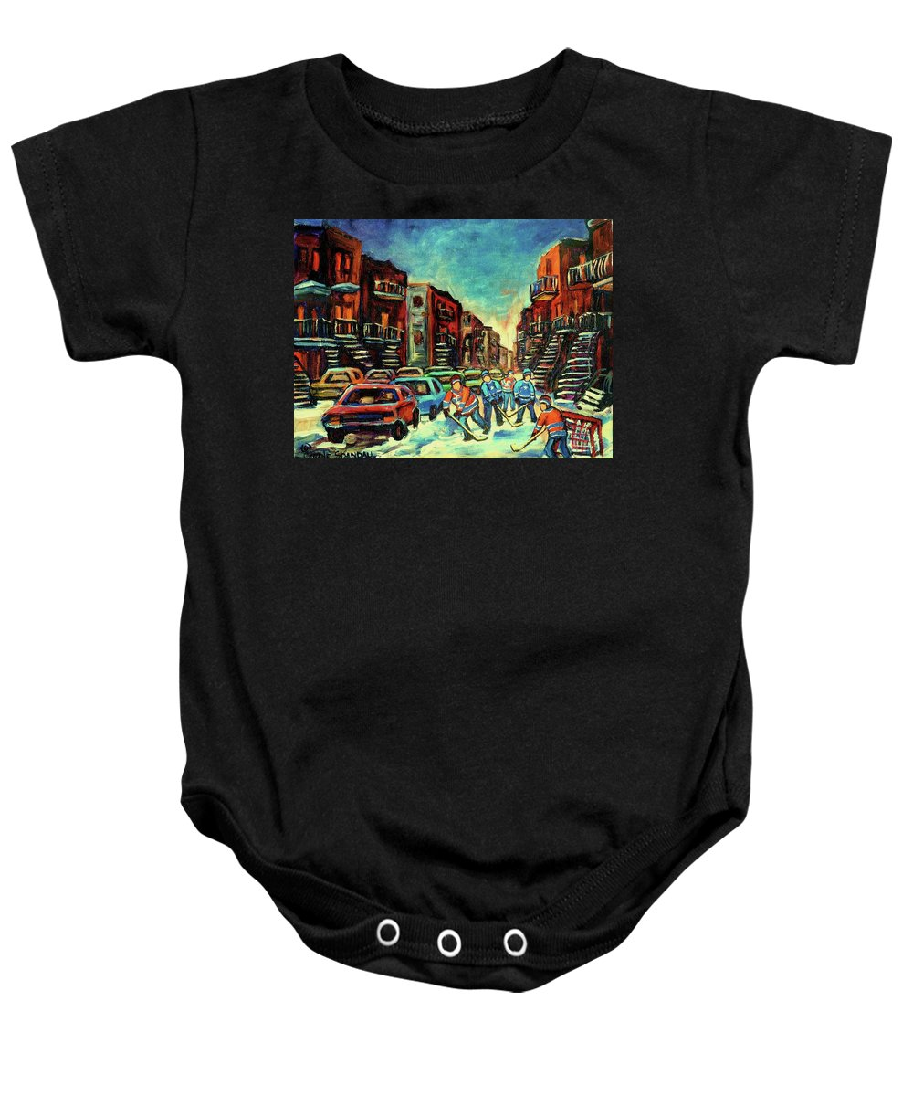 Montreal Baby Onesie featuring the painting Streetscenes Of Montreal Hockey Paintings By Montreal Cityscene Specialist Carole Spandau by Carole Spandau