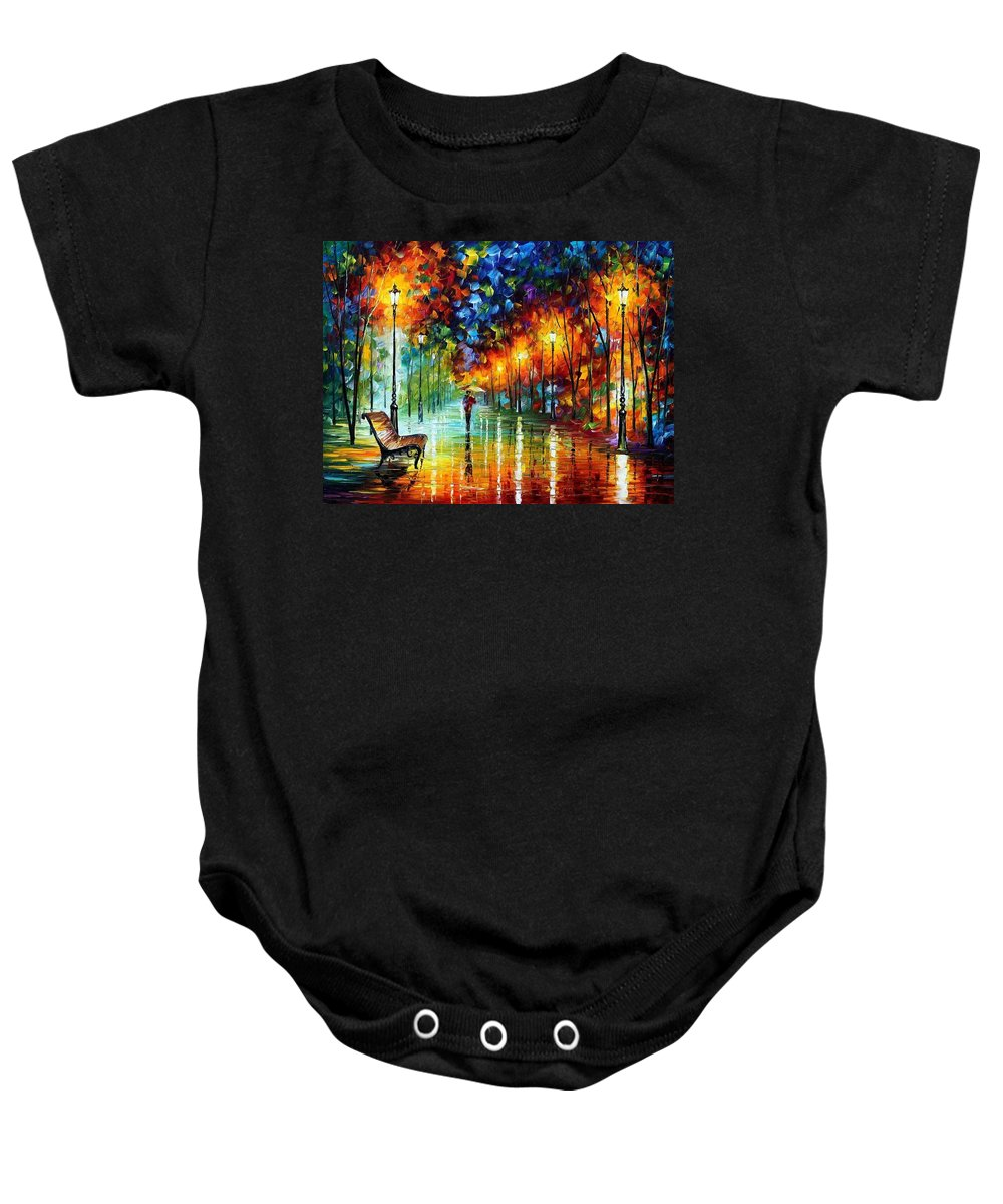 Afremov Baby Onesie featuring the painting Stroll In The Fog by Leonid Afremov