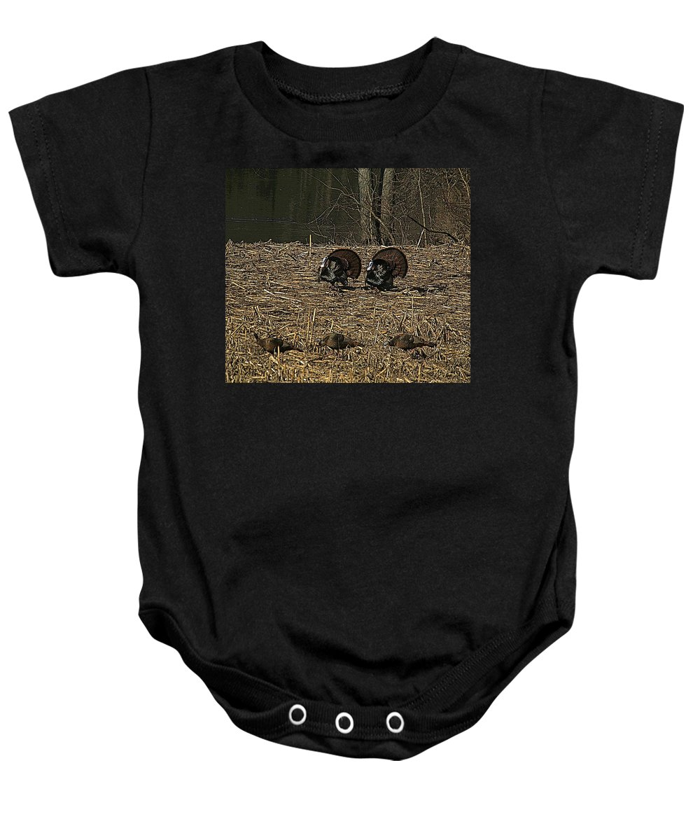 Turkey Baby Onesie featuring the photograph Strutin For The Ladies by Robert Pearson