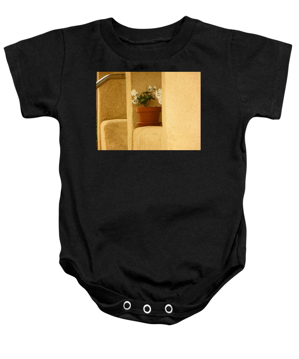 Abstract Baby Onesie featuring the photograph Study Of My Neighbors Porch by Lenore Senior