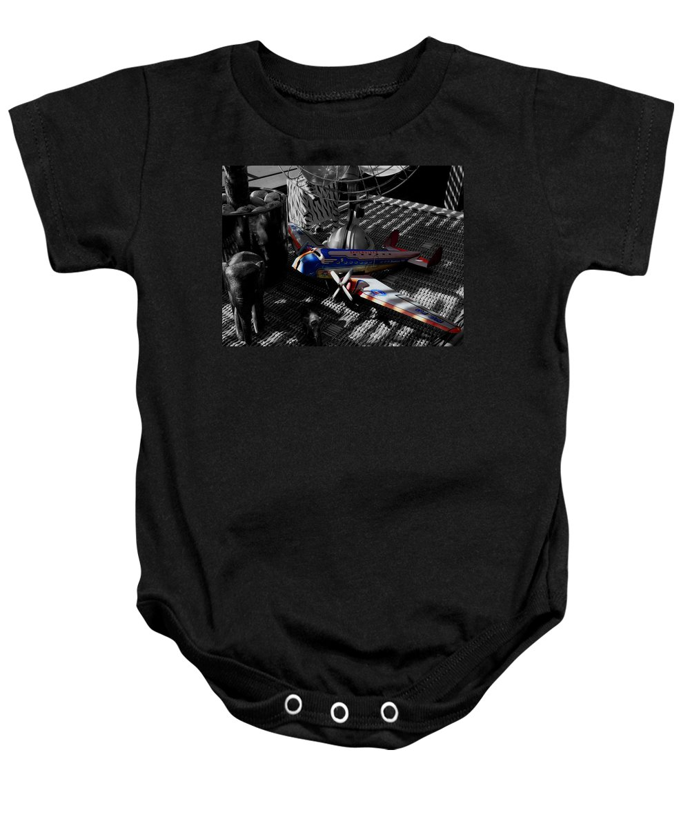 Still Life Baby Onesie featuring the photograph Suburban Safari The Zebra Strikes Back by Charles Stuart