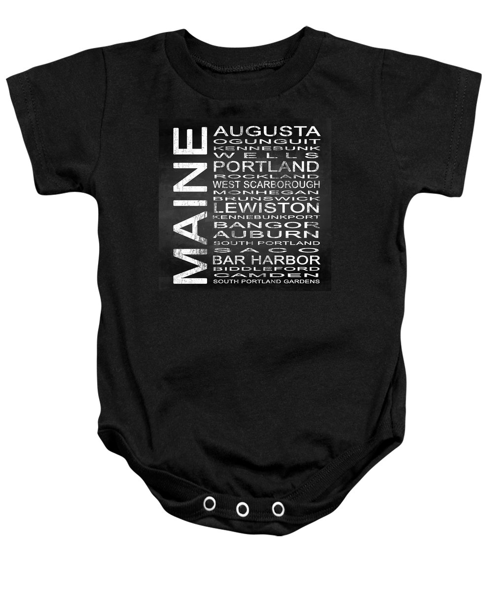 Subway Sign Baby Onesie featuring the digital art Subway Maine State Square by Melissa Smith