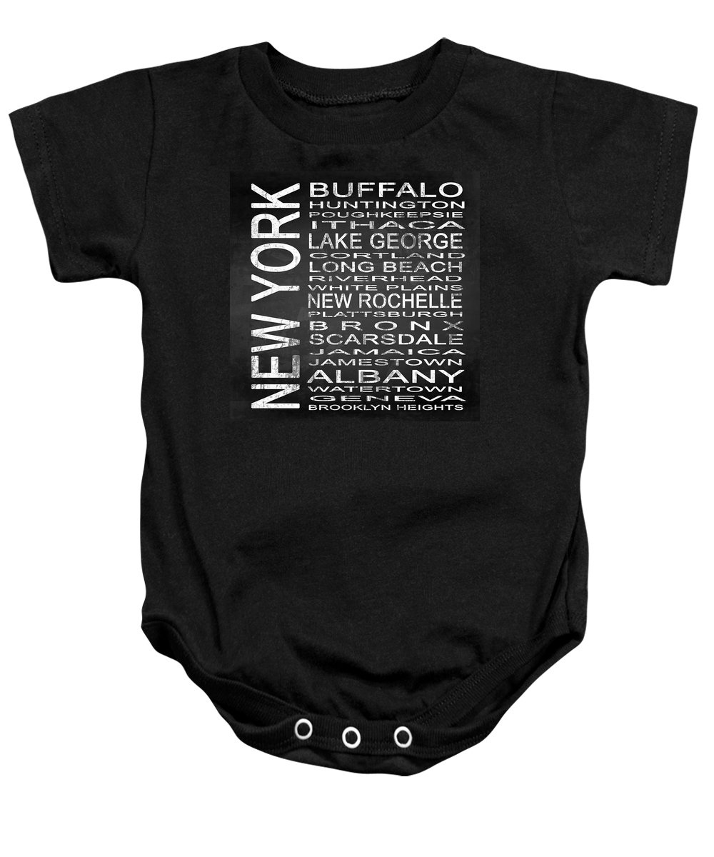 Subway Sign Baby Onesie featuring the digital art Subway New York State Square by Melissa Smith