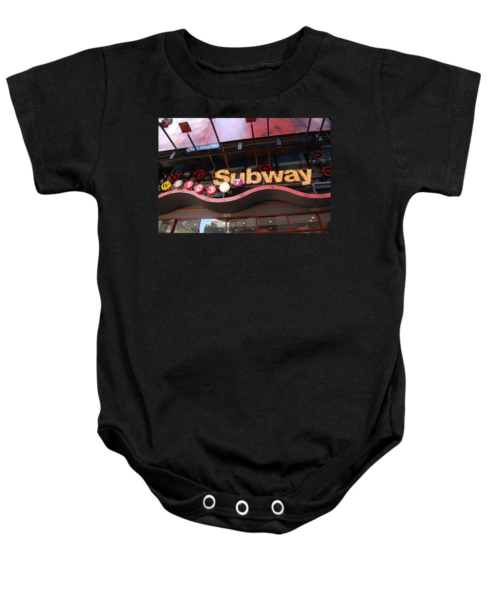 Neon Baby Onesie featuring the photograph Subway by Rob Hans