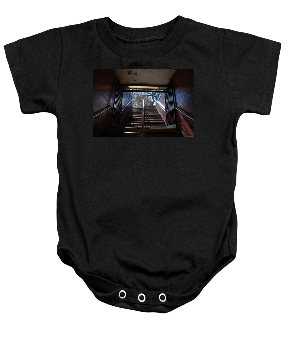 Pop Art Baby Onesie featuring the photograph Subway Stairs To Freedom by Rob Hans