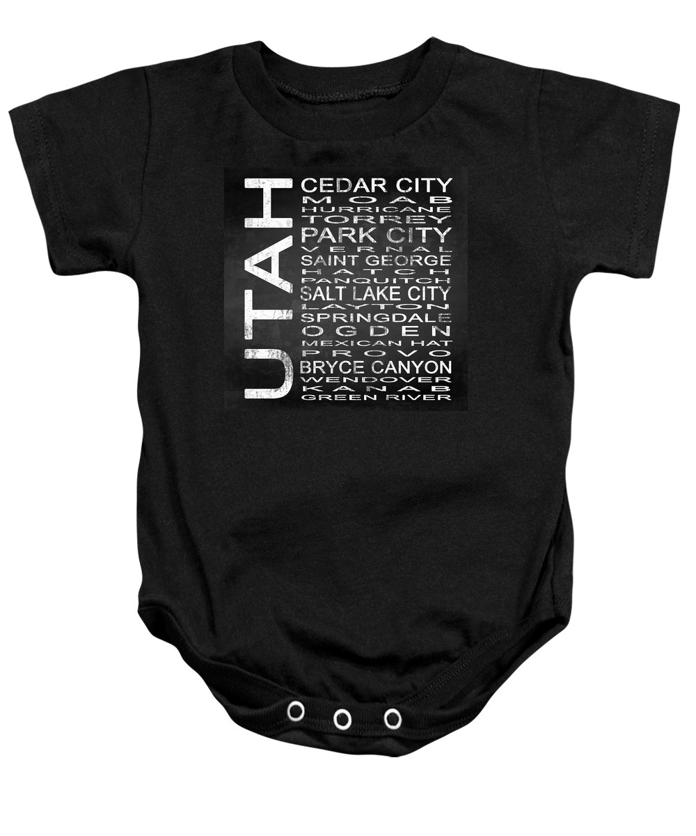 Subway Sign Baby Onesie featuring the digital art Subway Utah State Square by Melissa Smith
