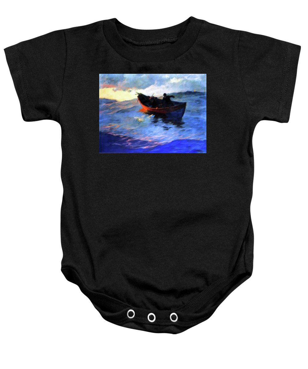Sea Baby Onesie featuring the painting Suffolk Coast by D Fessenden