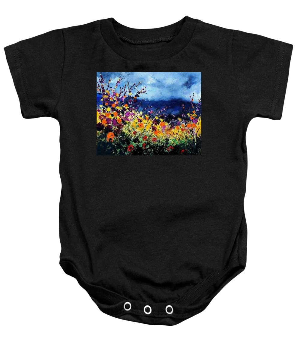 Poppy Baby Onesie featuring the painting Summer 45 by Pol Ledent