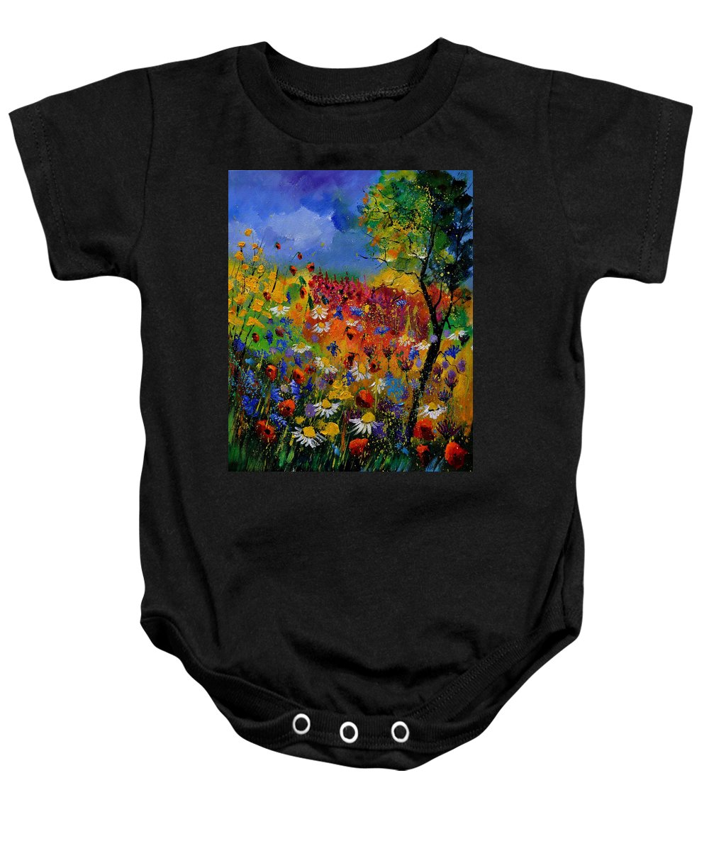 Flowers Baby Onesie featuring the painting Summer 670170 by Pol Ledent