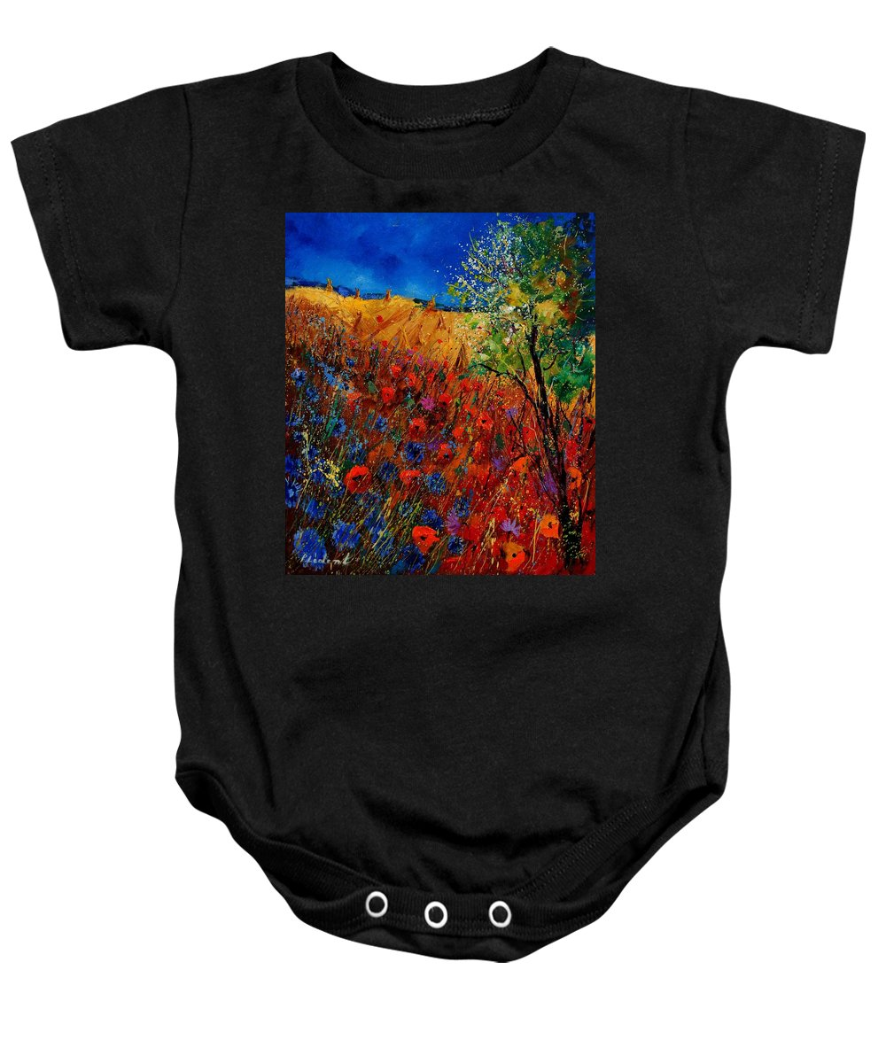 Flowers Baby Onesie featuring the painting Summer Landscape With Poppies by Pol Ledent