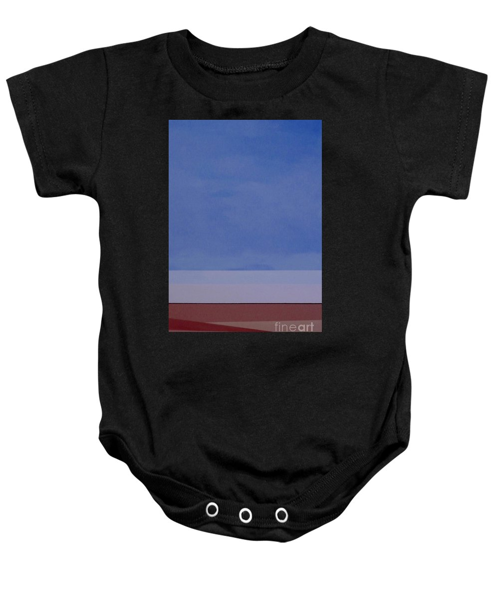 Washington State; Landscape; Sky; Fields; Earth; Blue; Brown; Farming; Agriculture Baby Onesie featuring the painting Summer Sky by Teresa St George