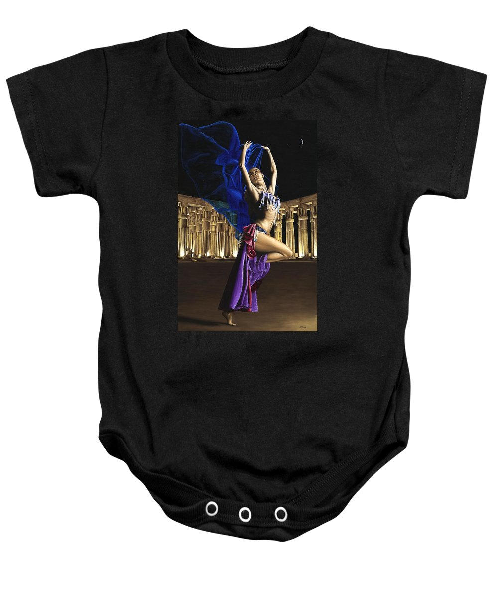 Belly Baby Onesie featuring the painting Sun Court Dancer by Richard Young