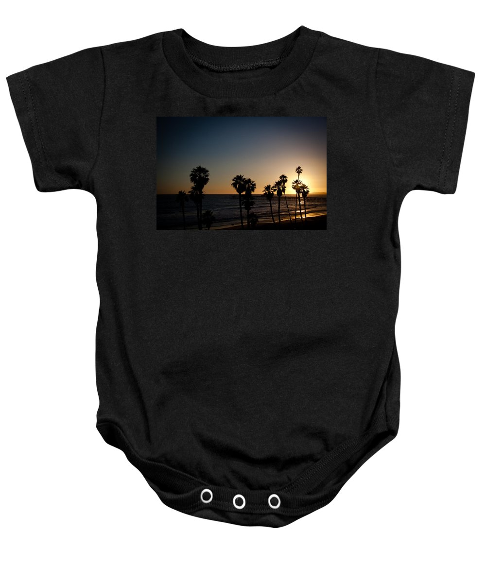 San Clemente Baby Onesie featuring the photograph Sun Going Down In California by Ralf Kaiser