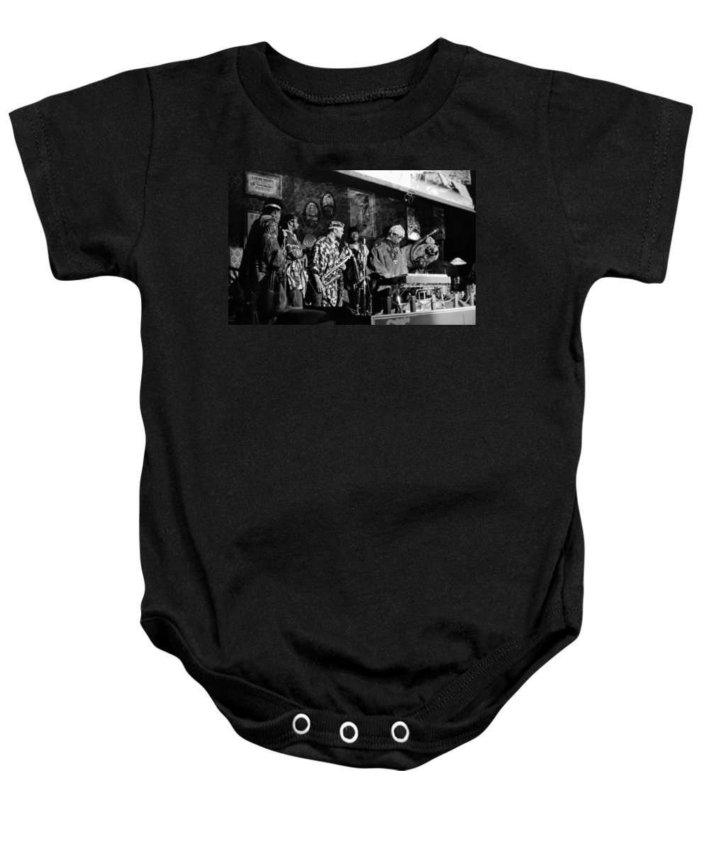Jazz. B&w Baby Onesie featuring the photograph Sun Ra Arkestra At The Red Garter 1970 Nyc 4 by Lee Santa