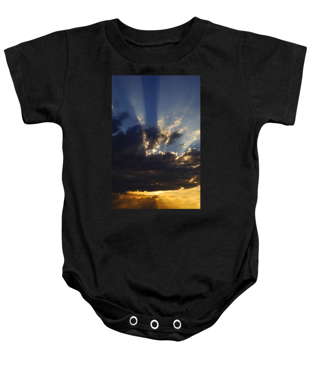 Sunset Baby Onesie featuring the photograph Sun Rays by Jill Reger