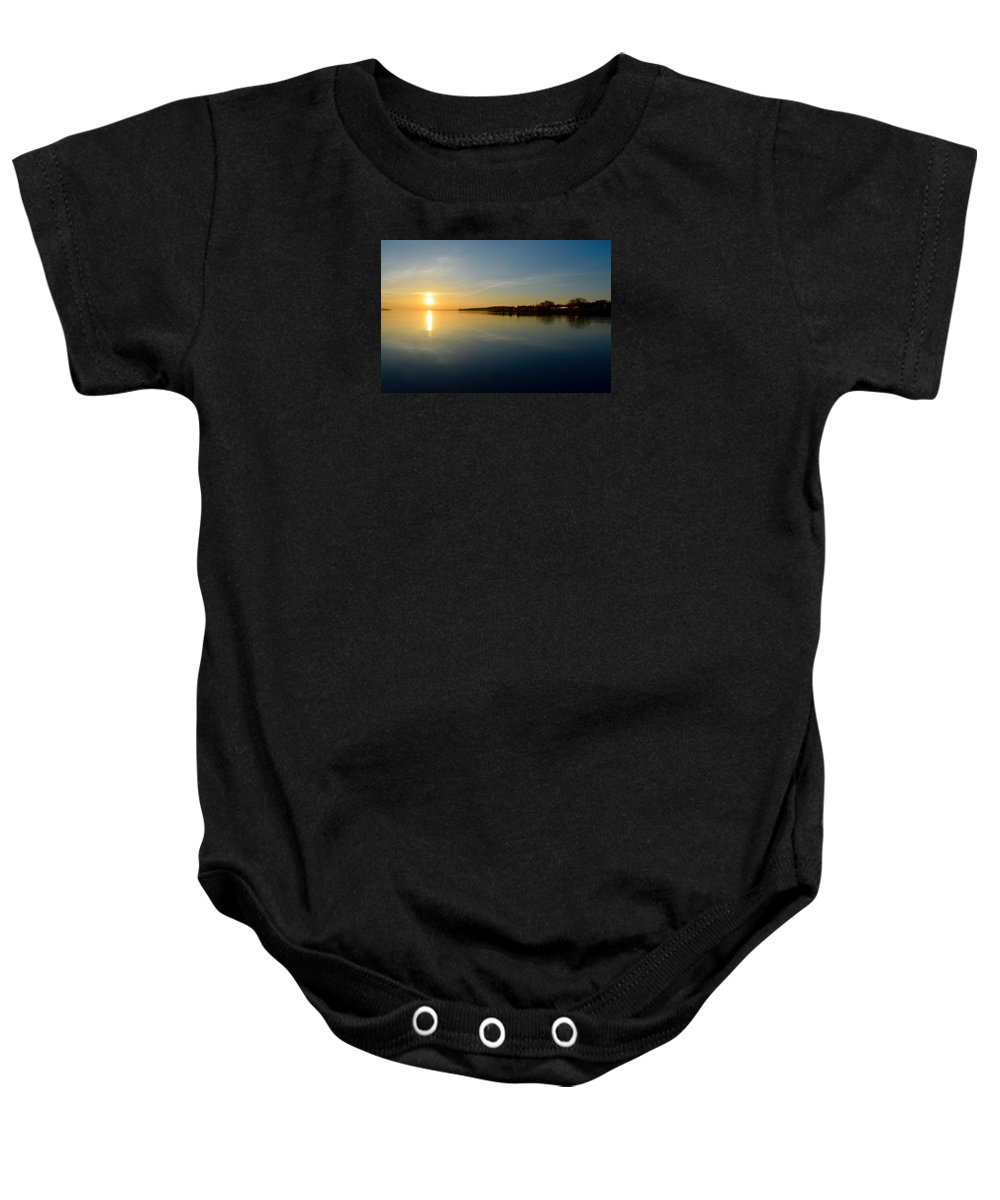 Abstract Baby Onesie featuring the photograph Sun Reflections by Lyle Crump