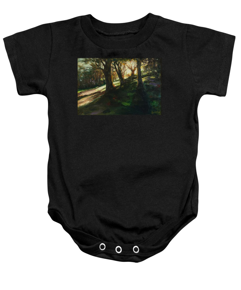 Trees Baby Onesie featuring the painting Sun by Rick Nederlof