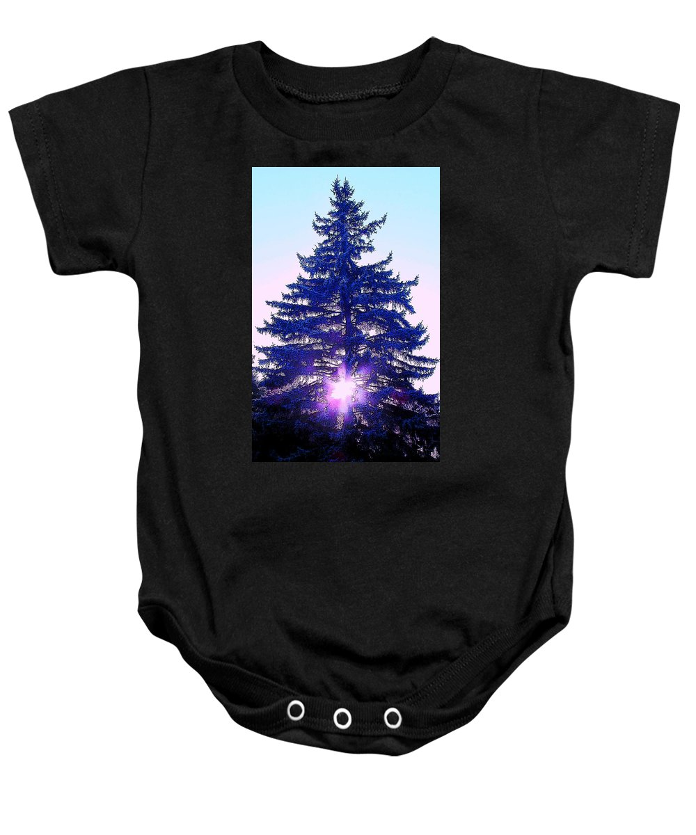 Fir Baby Onesie featuring the photograph Sundown In The Forest by Ian MacDonald