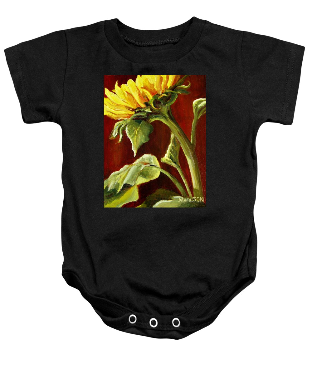 Flower Baby Onesie featuring the painting Sunflower - Sunny Side Up by Marjory Wilson
