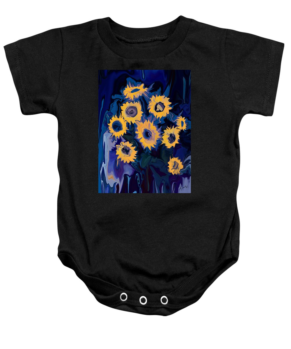 Art Baby Onesie featuring the digital art Sunflower 1 by Rabi Khan