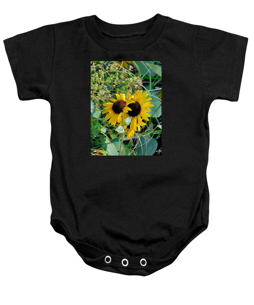 Agriculture Baby Onesie featuring the painting Sunflower 2 by Jeelan Clark