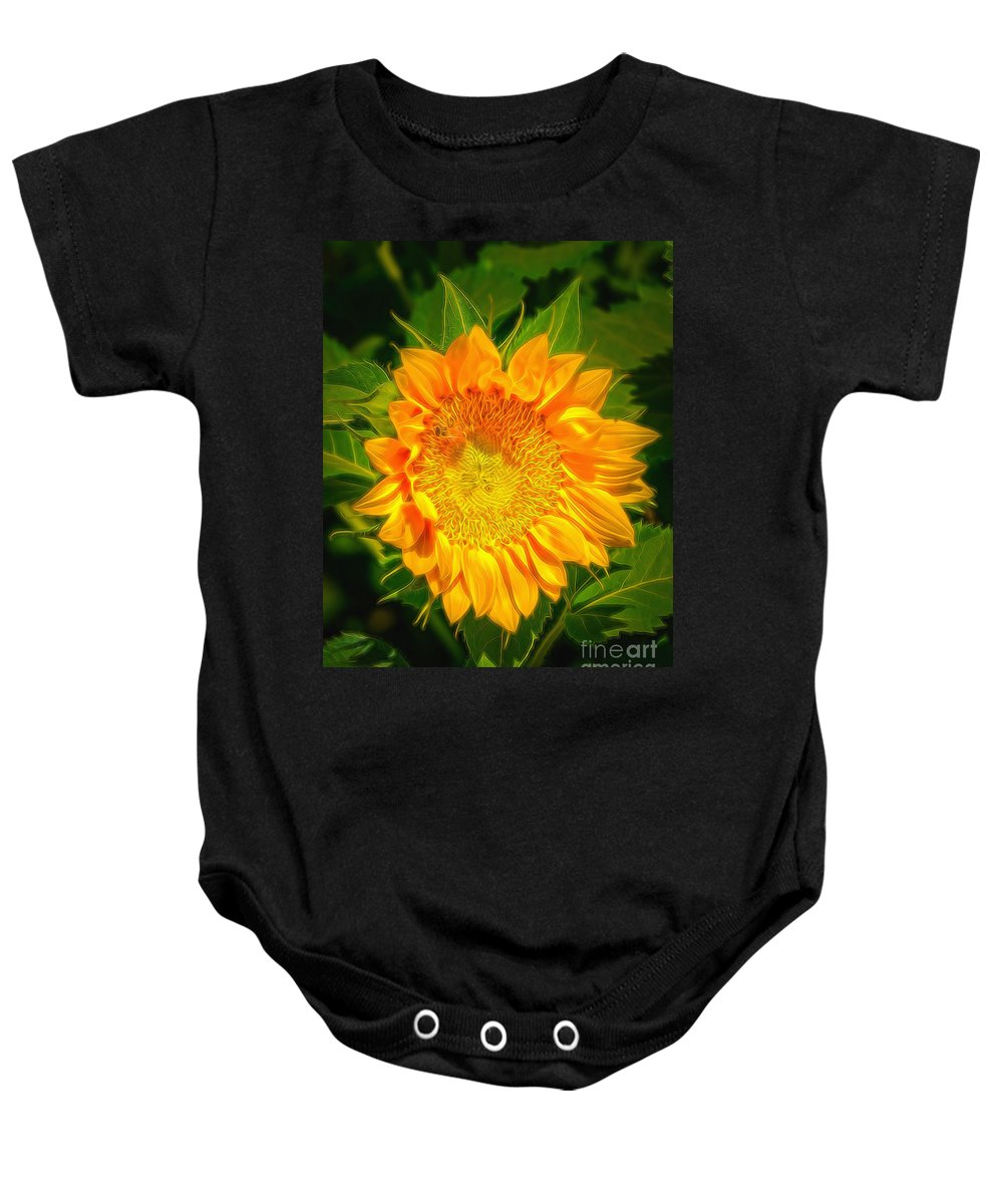 Sunflower Baby Onesie featuring the photograph Sunflower 6 by Larry White