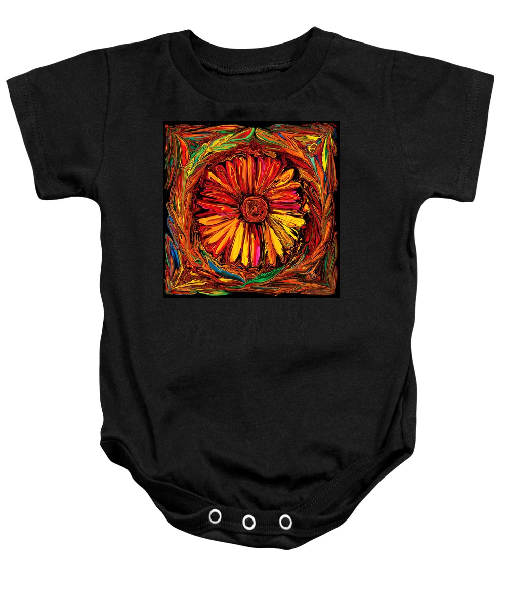 Art Baby Onesie featuring the digital art Sunflower Emblem by Rabi Khan