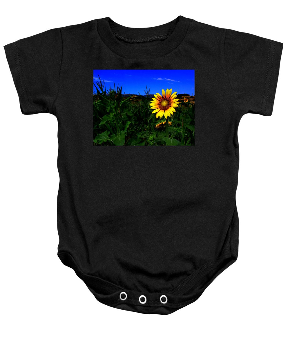 Flower Baby Onesie featuring the photograph Sunflower by Silvia Ganora