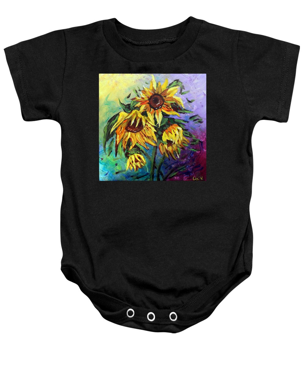 Art Baby Onesie featuring the painting Sunflowers In The Rain by Luiza Vizoli