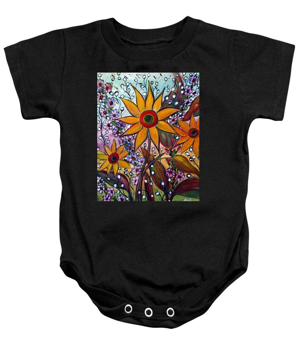 Flowers Baby Onesie featuring the painting Sunflowers by Luiza Vizoli