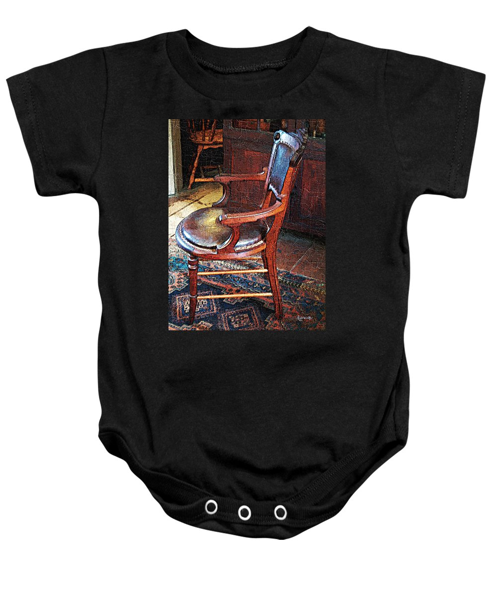 Antiques Baby Onesie featuring the digital art Sunlight On Leather Chair by RC DeWinter