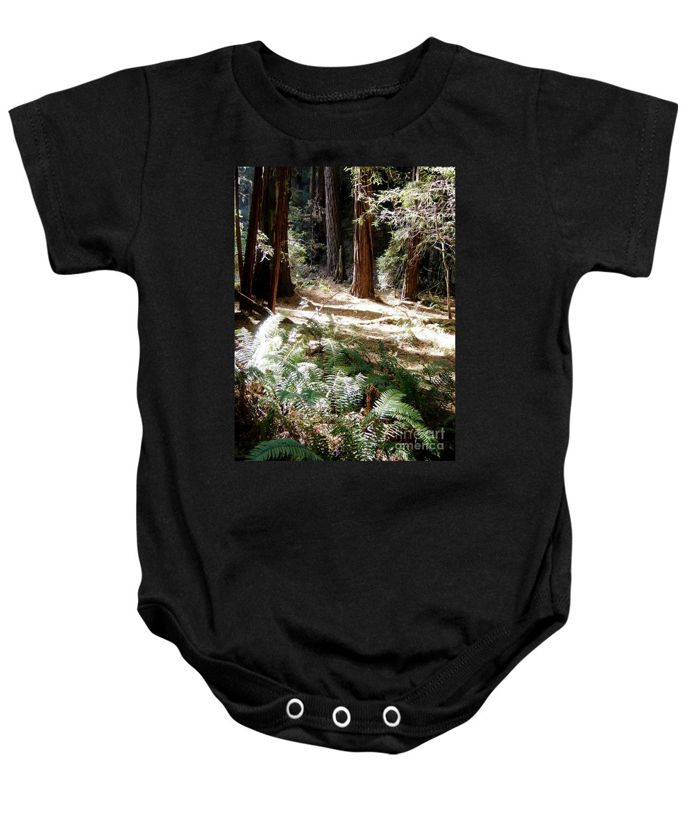 Sunlight Baby Onesie featuring the photograph Sunlight On Path by Mary Rogers