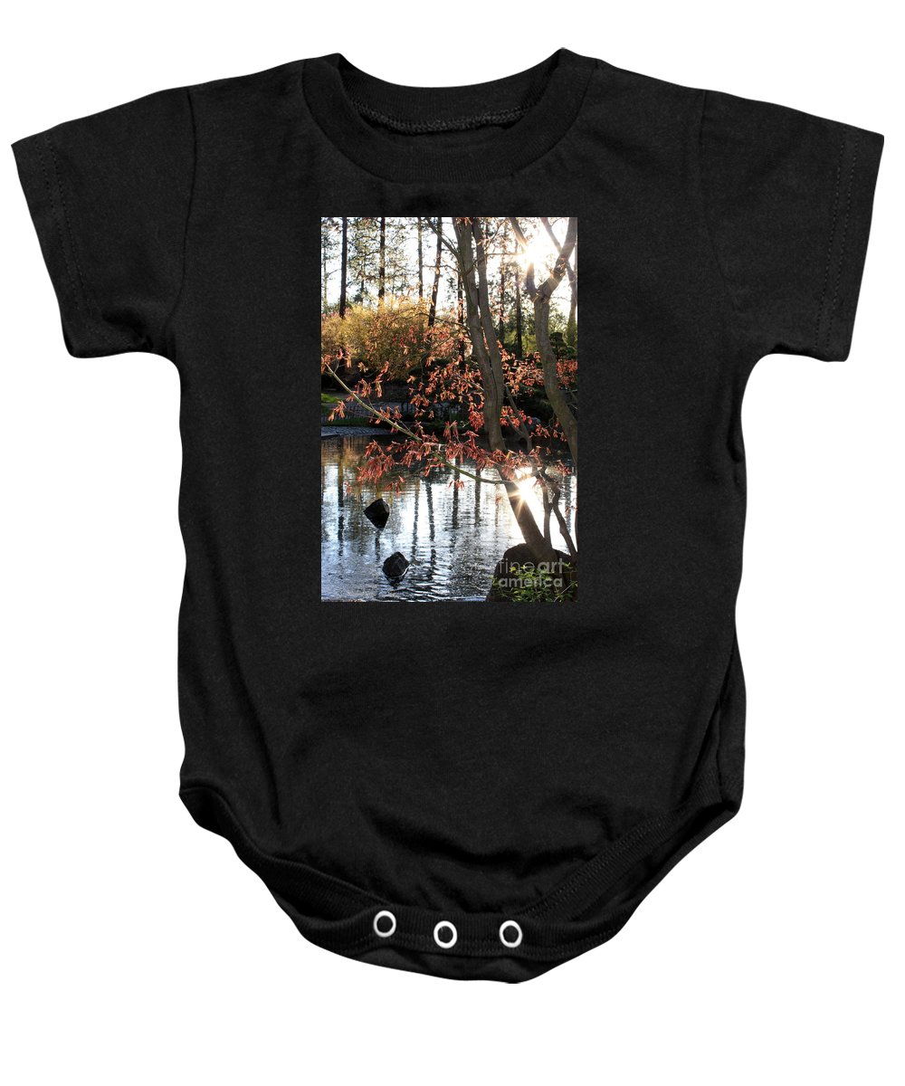 Maple Tree Baby Onesie featuring the photograph Sunlight Through Japanese Maple by Carol Groenen